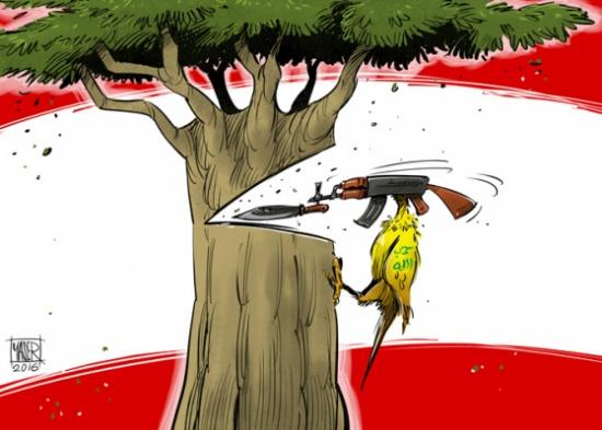 חזבאללה כורת את ארזי הלבנון